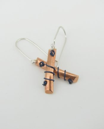 Copper, Stering Silver, and Blue Wire Angled Coil Earrings