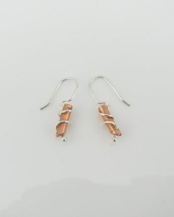 Copper and Sterling Silver Petite Column Coil Earrings