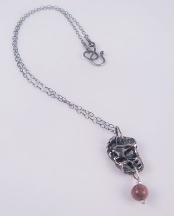 Abstract Sterling Silver and Rhodonite Necklace