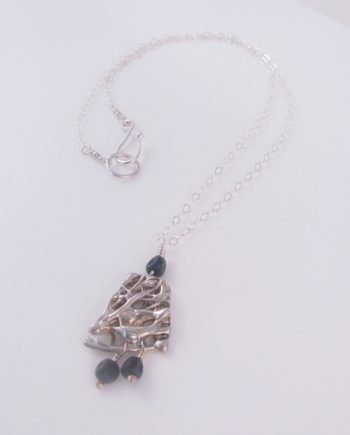 Abstract Sterling Silver and Vintage Glass Necklace