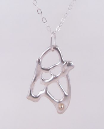 Abstract Cast Sterling Silver and 14k Gold Triangle Drop Necklace