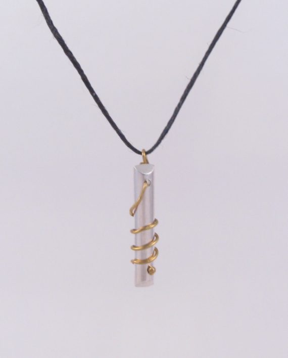 Sterling Silver and Brass Beveled Coil Necklace with Hemp Cord