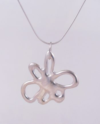Abstract Sterling Silver Wide Flower Necklace