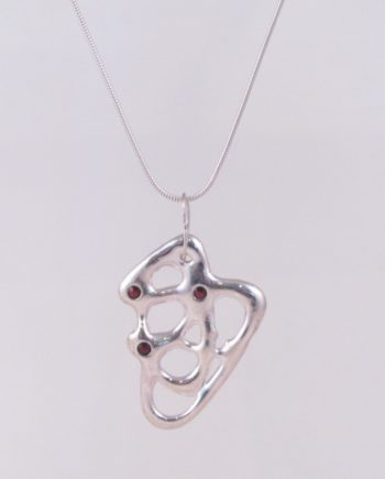 Abstract Sterling Silver and Garnet Necklace
