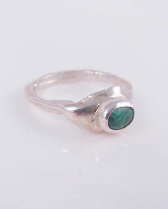 Sterling Silver and Malachite Ring, Size 8.5