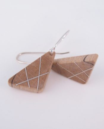 Spalted Maple and Silver Large Triangle Earrings