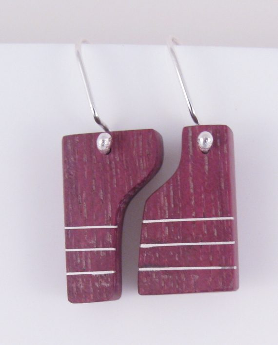 "Purpleheart and Silver Inlay ""Puzzle"" Earrings"