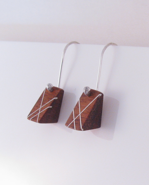 Wood and Silver Inlay Petite Triangle Earrings
