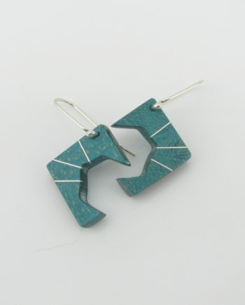 Teal Birdseye Maple and Silver Inlay Geometric Earrings