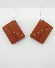African Padauk and Silver Inlay Domino Earrings