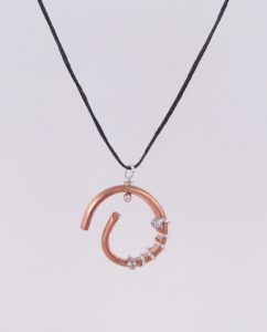 Copper and Sterling Silver Swirl Coil Necklace with Hemp Cord