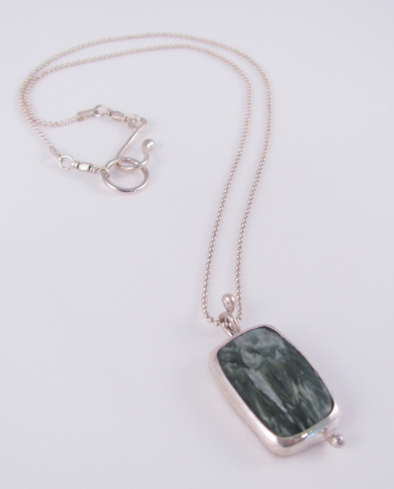 Seraphinite and Sterling Silver Wave Necklace