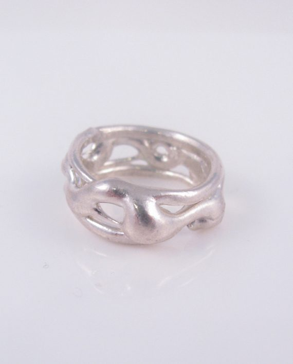 Abstract Sterling Silver Vine Ring, Size 5