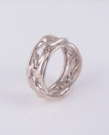 Abstract Sterling Silver Vine Band Ring, Size 10