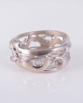 Abstract Sterling Silver Vine Band Ring, Size 9.5