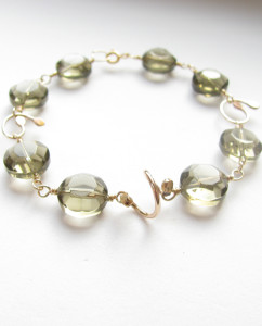 Faceted Smoky Czechoslovakian Glass & Gold-Filled Bracelet