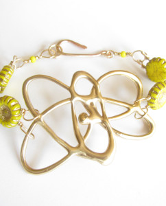 Abstract Bronze, Gold-Filled and Vintage Glass Double Link Flower Bracelet