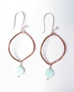 Copper, Sterling Silver, and Indian Opal Earrings