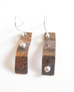 Etched and Antiqued Copper and Sterling Silver Wavy Rectangle Earrings