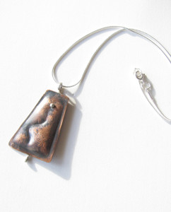 Antiqued & Etched Copper & Sterling Silver Necklace