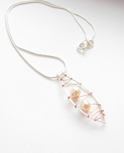Sterling Silver, Pearl and Copper Stitched Pendant Necklace