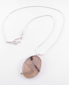 Montana Agate and Sterling Silver Wave Necklace