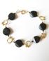 Black Obsidian & Brass Bracelet with Gold-Filled Clasp