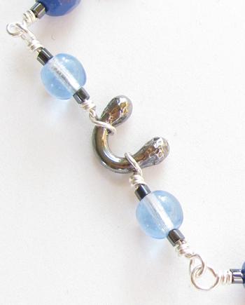 Blue Czechoslovakian Glass & Antiqued Sterling Silver Bracelet