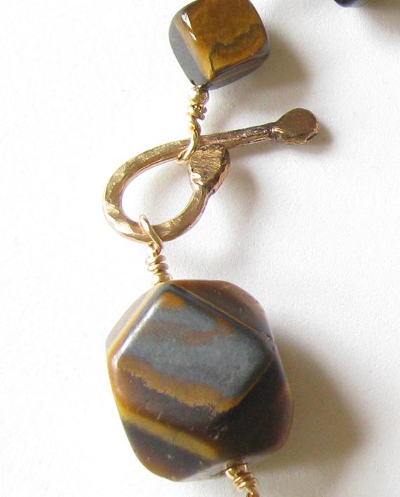 """Tiger Eye and Gold-Filled Bracelet, 9"""""""