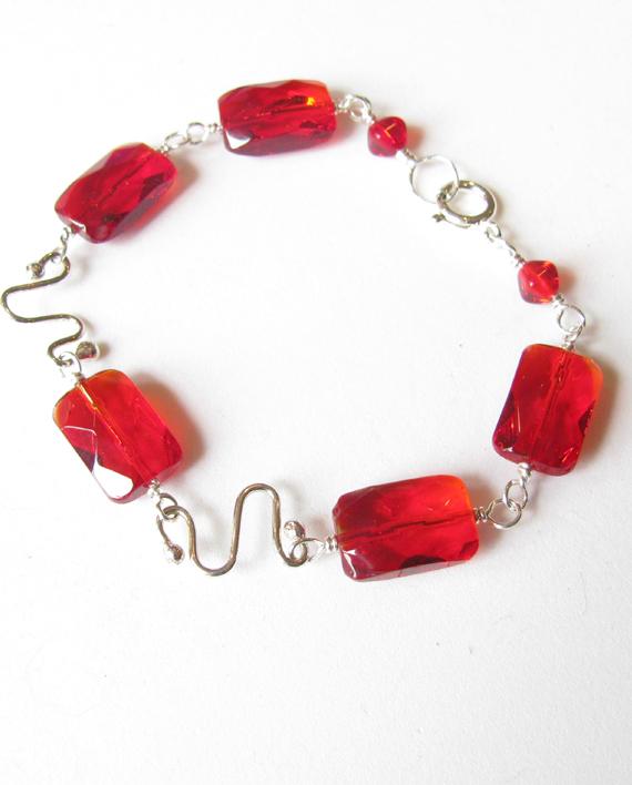 Red Czechoslovakian Glass and Sterling Silver Bracelet
