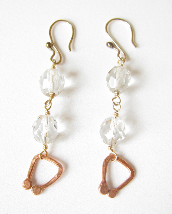 Vintage Crystal, Copper, Brass & Gold-Filled Earrings