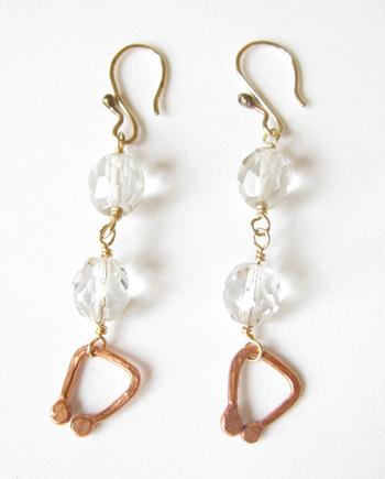 Vintage Crystal, Copper, Brass & Gold-Filled Earrings