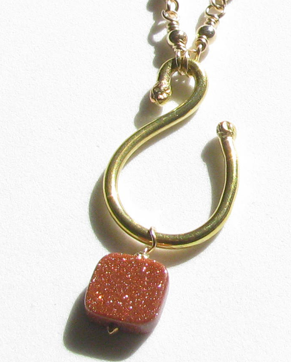 Handforged Brass and Goldstone Necklace with Gold-Filled Chain and Clasp