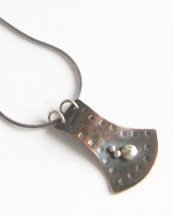 Copper and Sterling Silver Leaf Trail Necklace