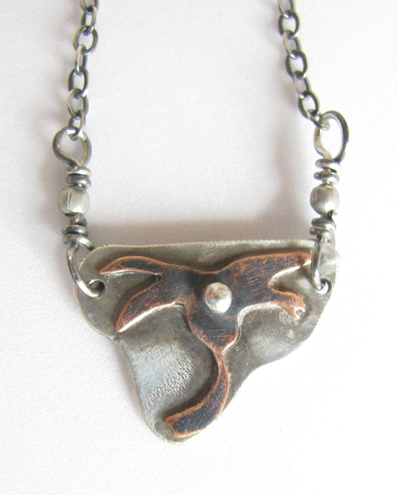 Copper and Sterling Silver Date Palm Necklace