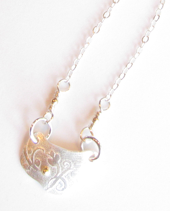 Etched Sterling Silver and 14k Gold Floral Necklace