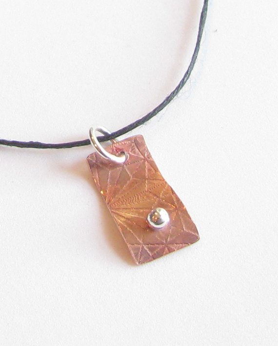 Etched Shiny Copper and Sterling Silver Pendant on Hemp Cord