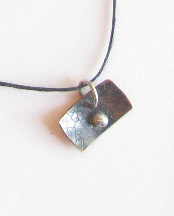 Etched Wide Antiqued Copper and Sterling Silver Pendant on Hemp Cord