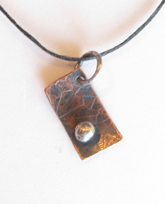 Etched Diagonal Antiqued Copper and Sterling Silver Pendant on Hemp Cord