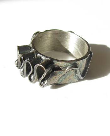 "Antiqued Sterling Silver ""Ribbon"" Ring, Size 6.5 / 7."