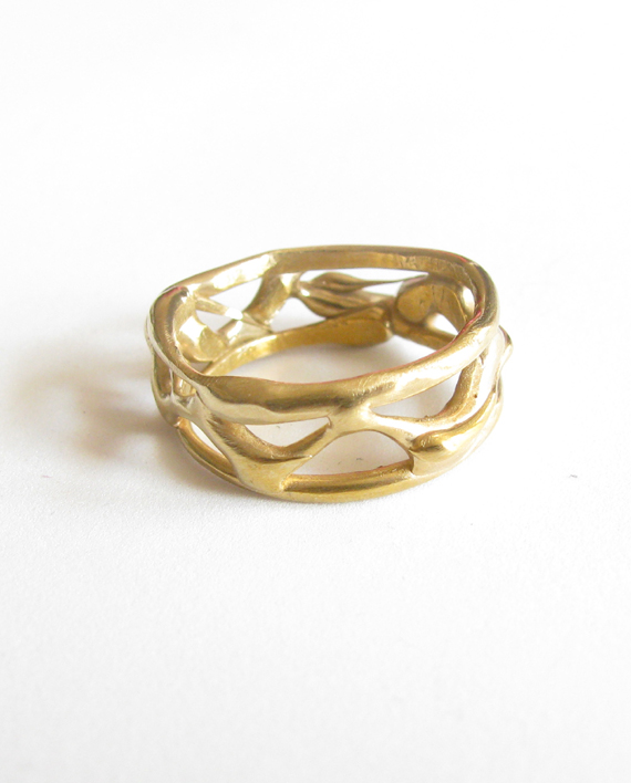 Abstract Bronze Vine Band Ring, Size 7.5