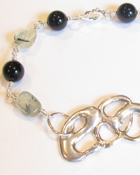 Abstract Cast Sterling Silver, Prenite and Onyx Bracelet
