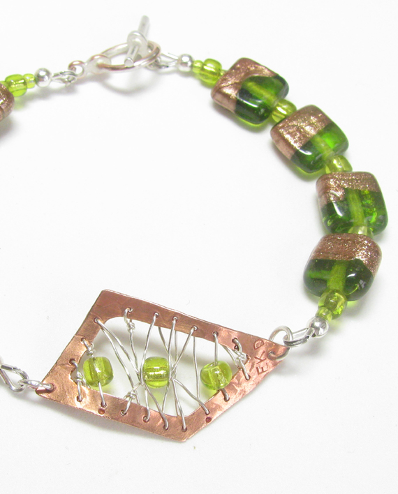 Etched and Stitched Copper, Sterling Silver, and Green Foil Glass Bracelet