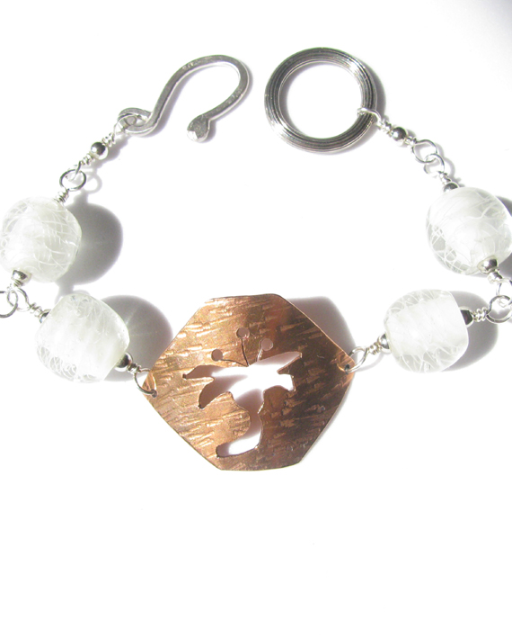 Hammered Copper, Sterling Silver, and Vintage German Glass Bracelet