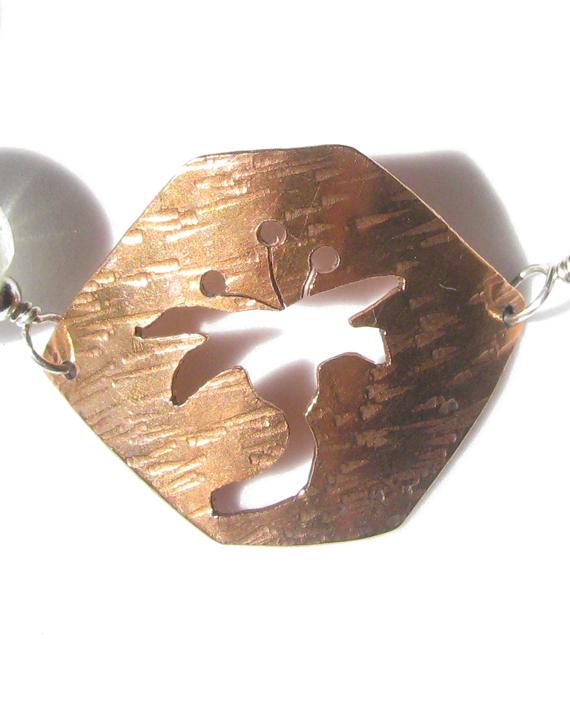 Hammered Copper, Sterling Silver, and Vintage German Glass Bracelet