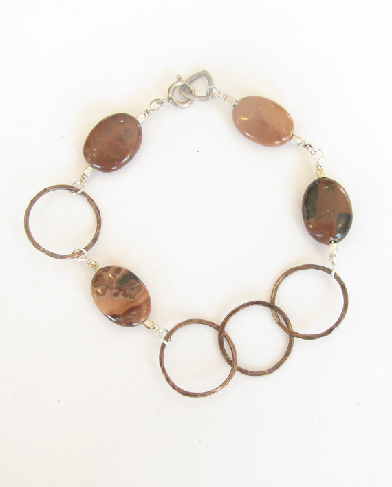 Crazy Horse Stone, Antiqued Copper and Sterling Silver Asymmetrical Bracelet