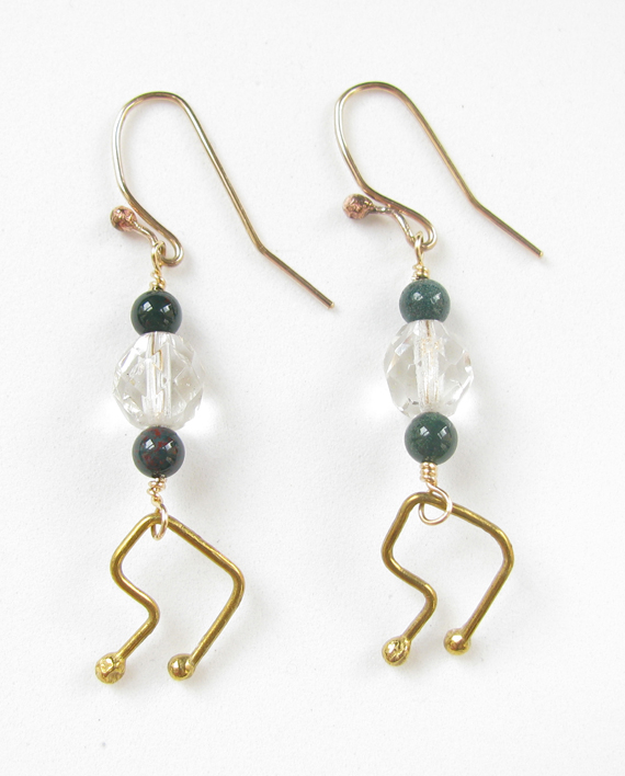 Vintage Crystal, Bloodstone, Gold-Filled & Brass Earrings