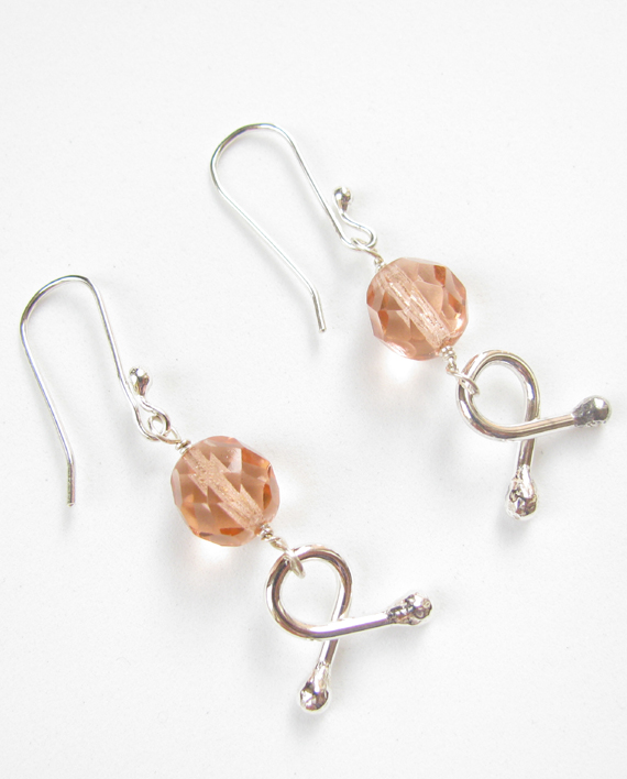 Salmon Vintage Crystal and Sterling Silver Earrings