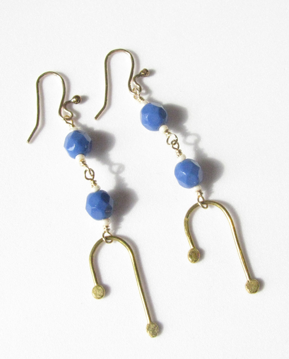 Double Drop Blue Vintage Glass, Brass and Gold-Filled Earrings
