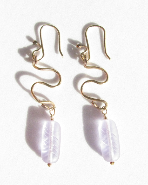 Lavender Glass and Gold-Filled Earrings